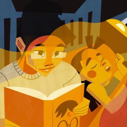 Illustration by Francesca Mahaney of an adult reading a Harry Potter book next to a sleeping child
