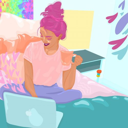 Illustration by Sarah Yu of a woman on her bed with a laptop