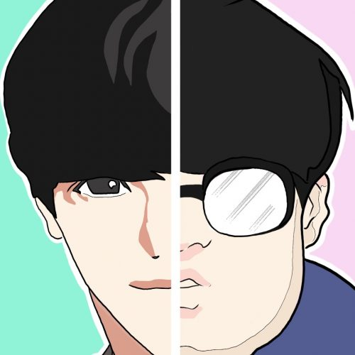 Illustration by Drew Parrott of a character from webtoon Lookism