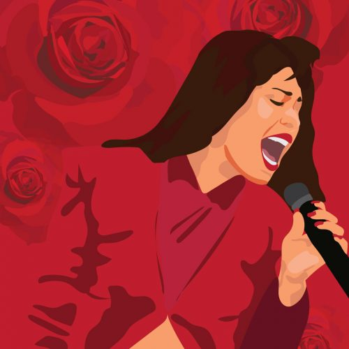 Illustration by Maya Vargas of Selena against a red background