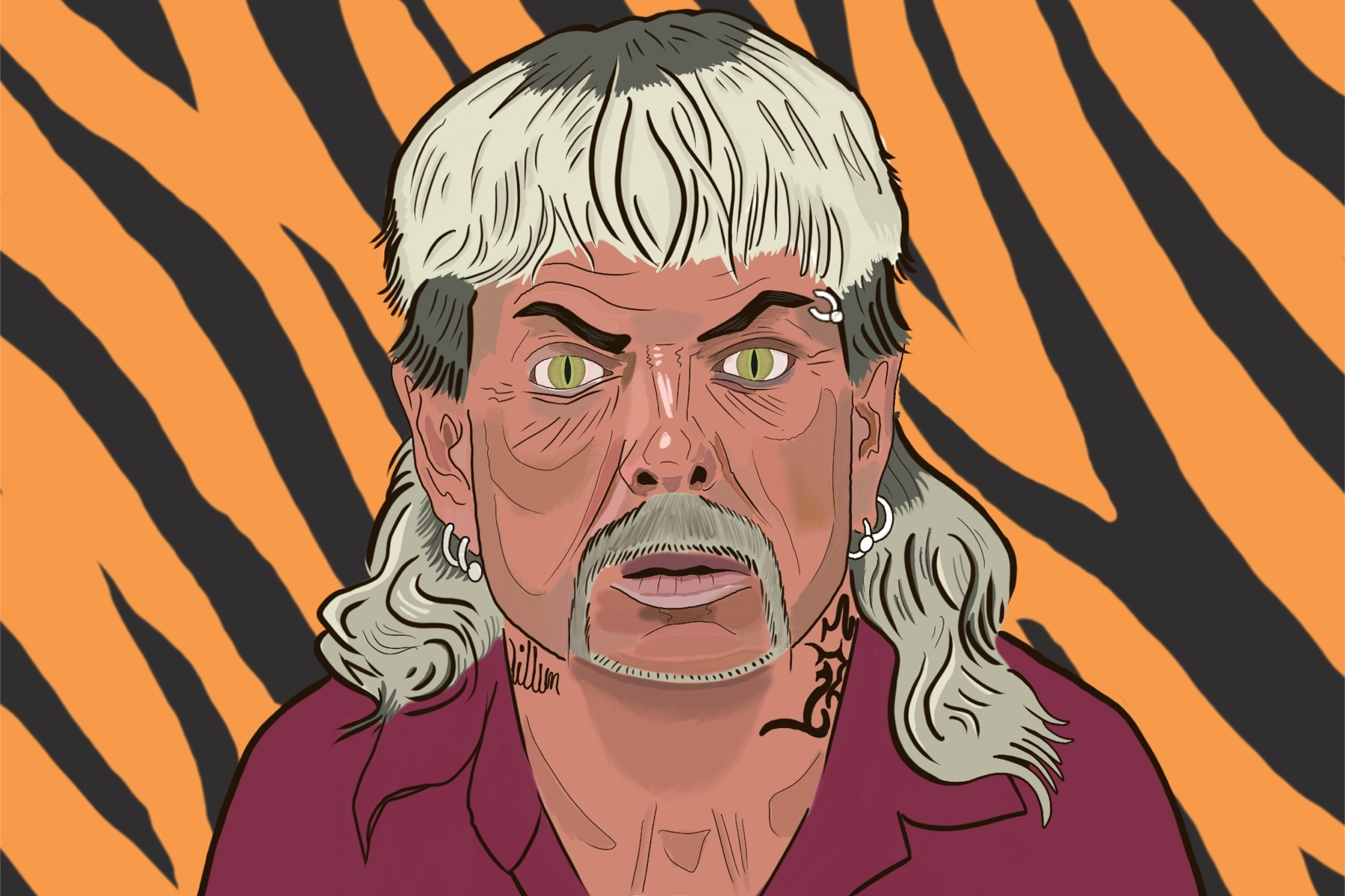Illustration by Drew Parrott of Joe Exotic from Tiger King
