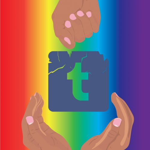 Illustration by Maya Vargas of the Tumblr logo, with a hand above and two hands below, all against a rainbow background