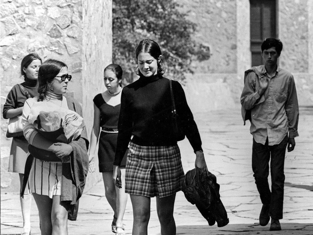 For a piece on the book 'Yale Needs Women,' a picture of women at Yale the first time the university allowed them to take part in the freshmen move-in day and assembly