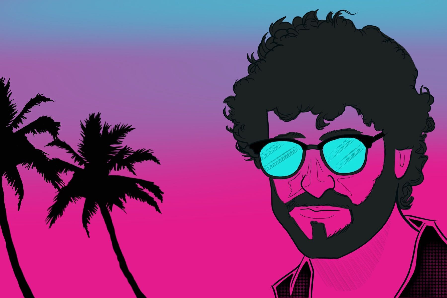 Dave Burd, better known as rapper Lil Dicky, against a sunset behind some palm trees