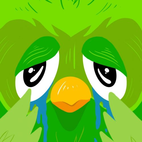 Illustration by Drew Parrott of the Duolingo owl crying