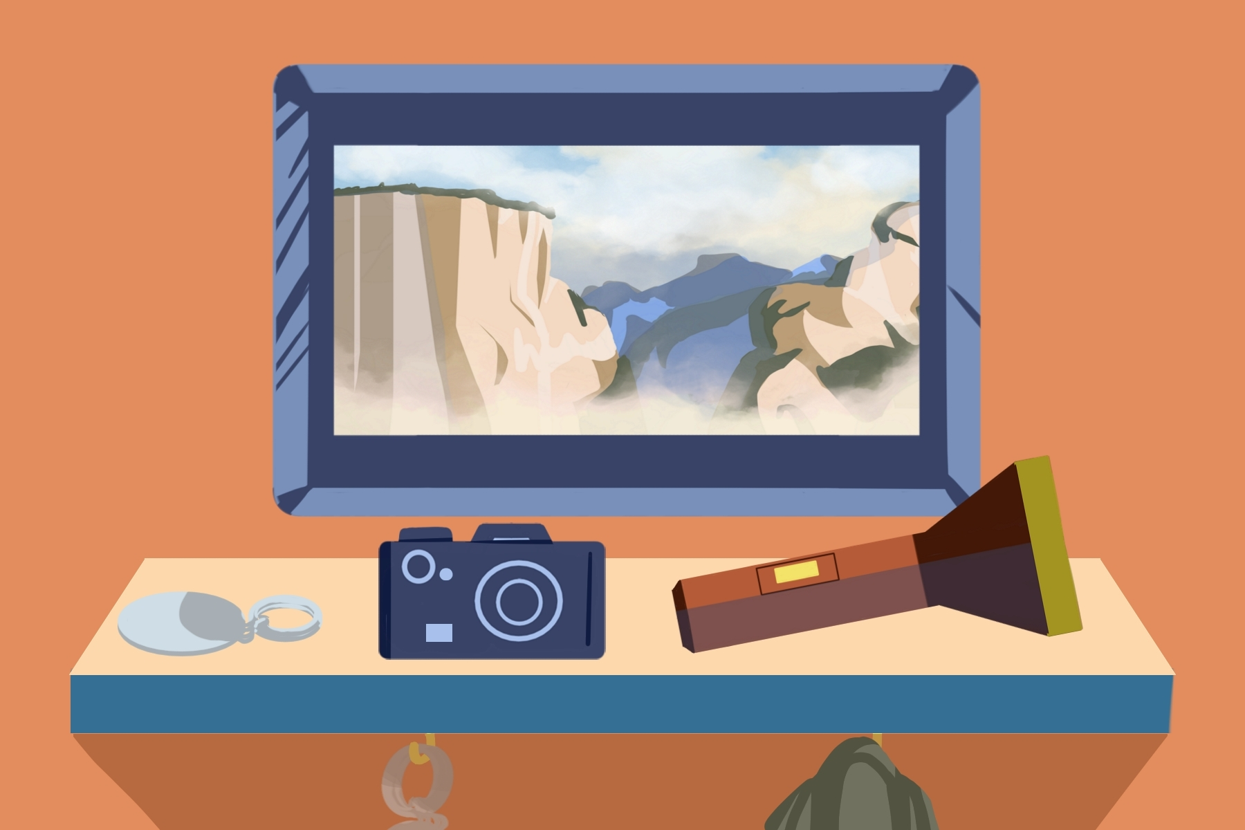 In an article about road trips, an illustration by Elizabeth Wong of a screen with a canyon on it, with a camera and flashlight in front