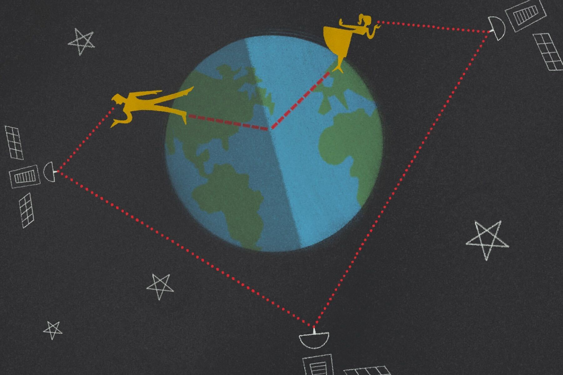In an article about long-distance relationships, an illustration by Francesca Mahaney of two people on a globe, triangulated by a satellite in space