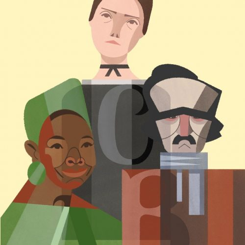 Illustration by Francesca Mahaney of busts of famous poets Maya Angelou, Emily Dickinson and Edgar Allan Poe