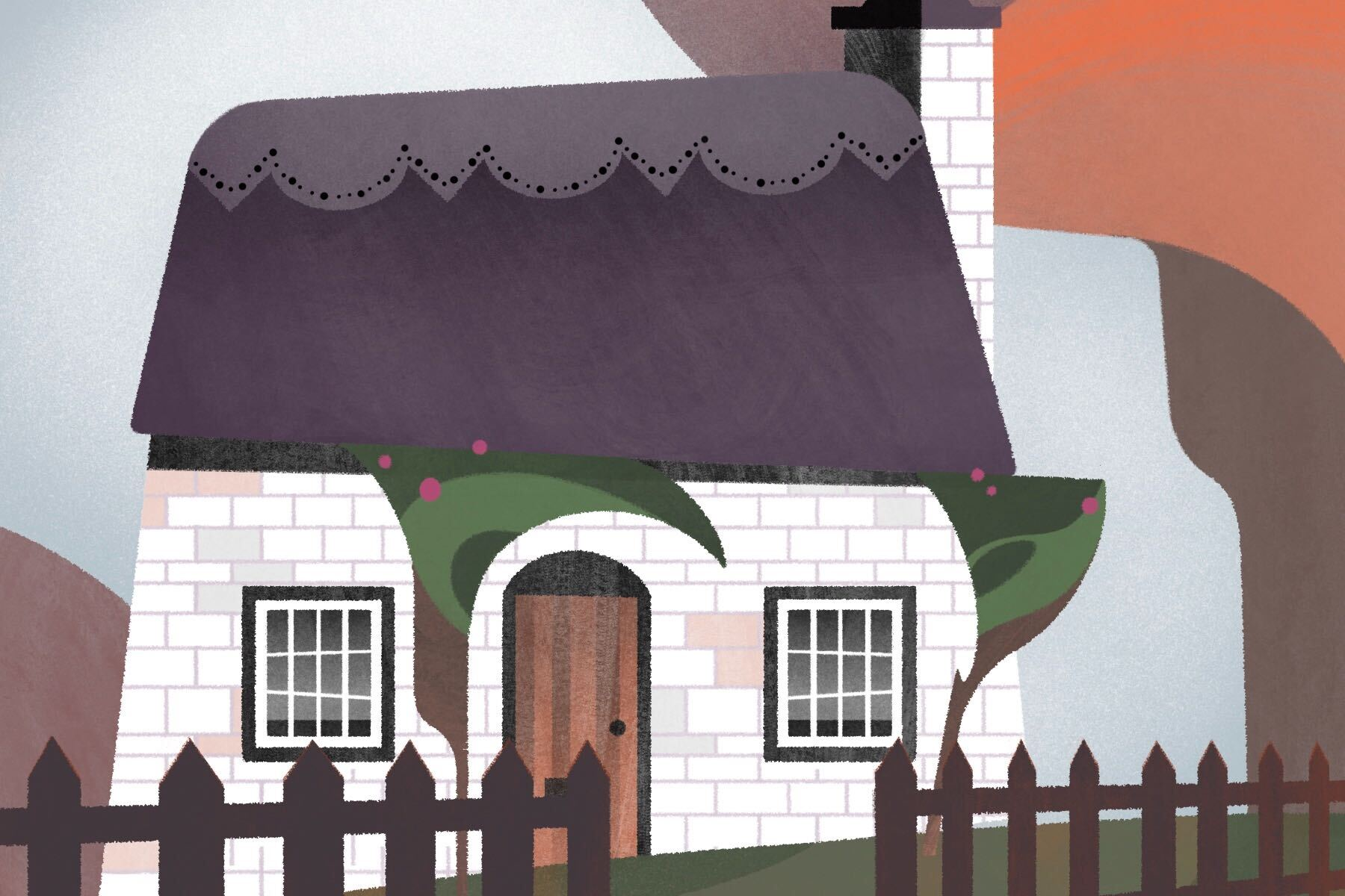 Illustration by Francesca Mahaney of a cottage in an article about cottagecore