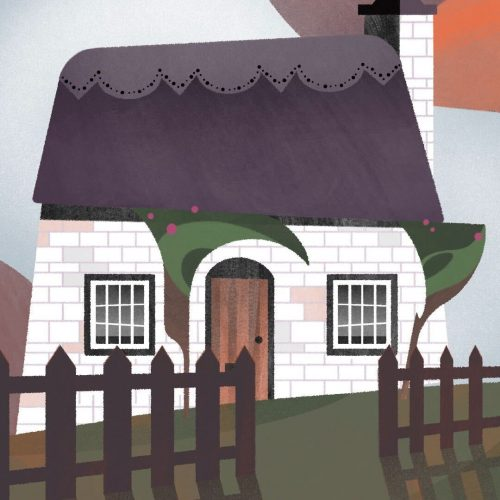 Illustration by Francesca Mahaney of a cottage behind a brown picket fence