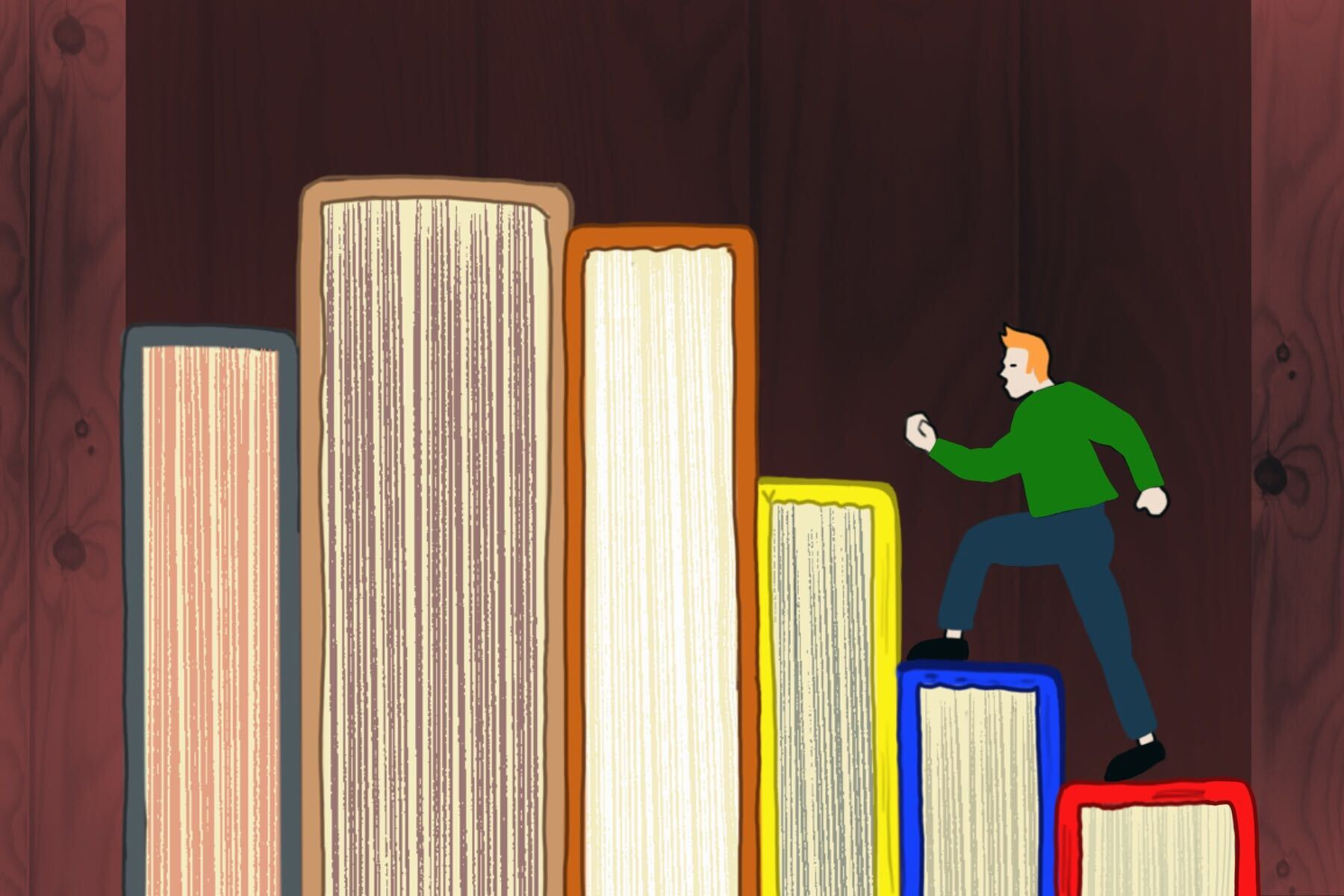 In an article about short stories, a person walking up a set of stairs made of books