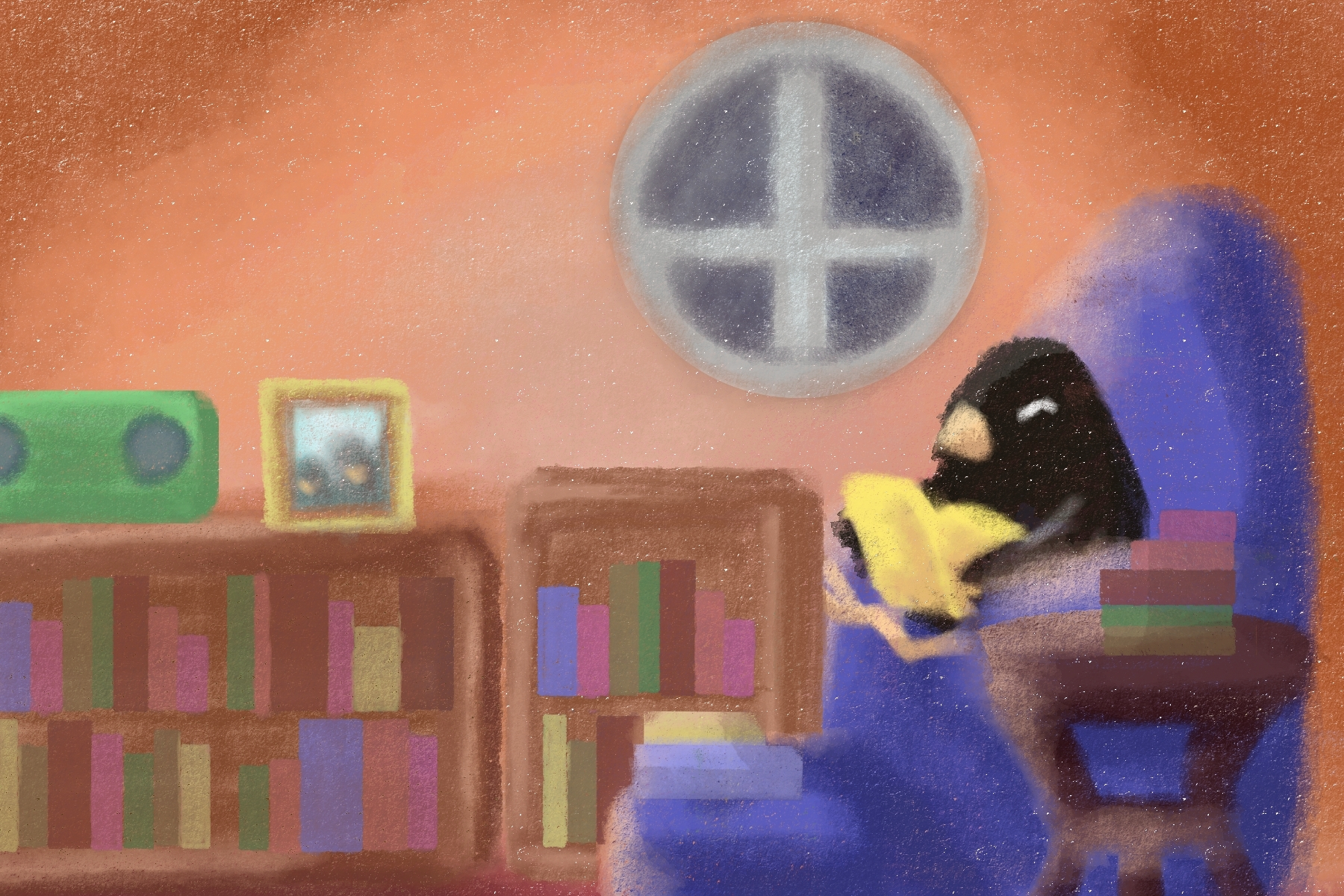 Illustration by Elizabeth Wong of a penguin rereading a book indoors