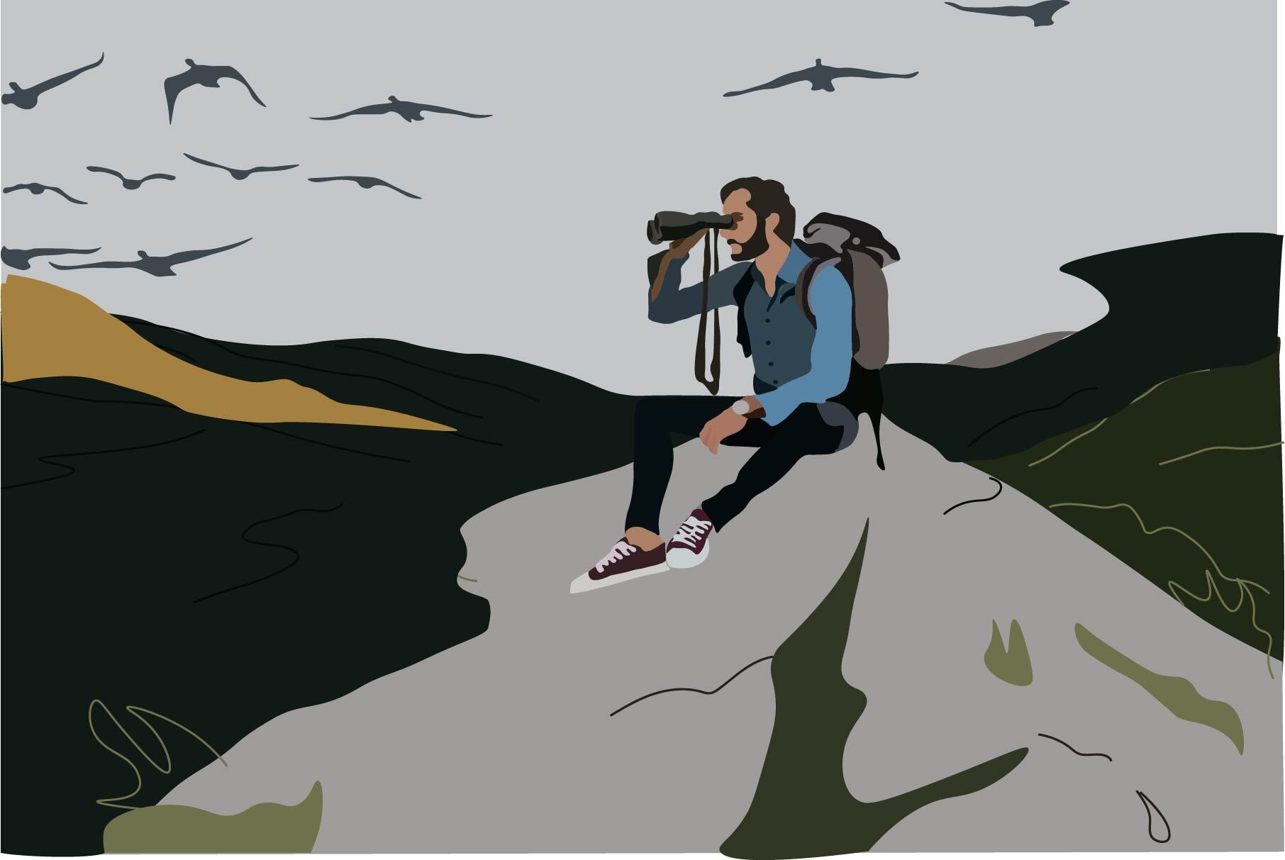 Illustration by Ellen Budell of an individual bird-watching on a hill