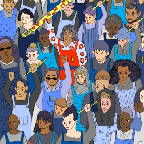 Illustration by Amy Young of a crowd of people, a few with pencils