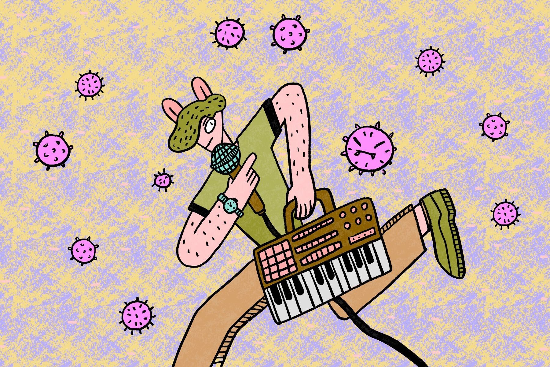 In an article about COVID-19 and the music industry, an illustration by Yao Jian of someone with a keyboard and microphone