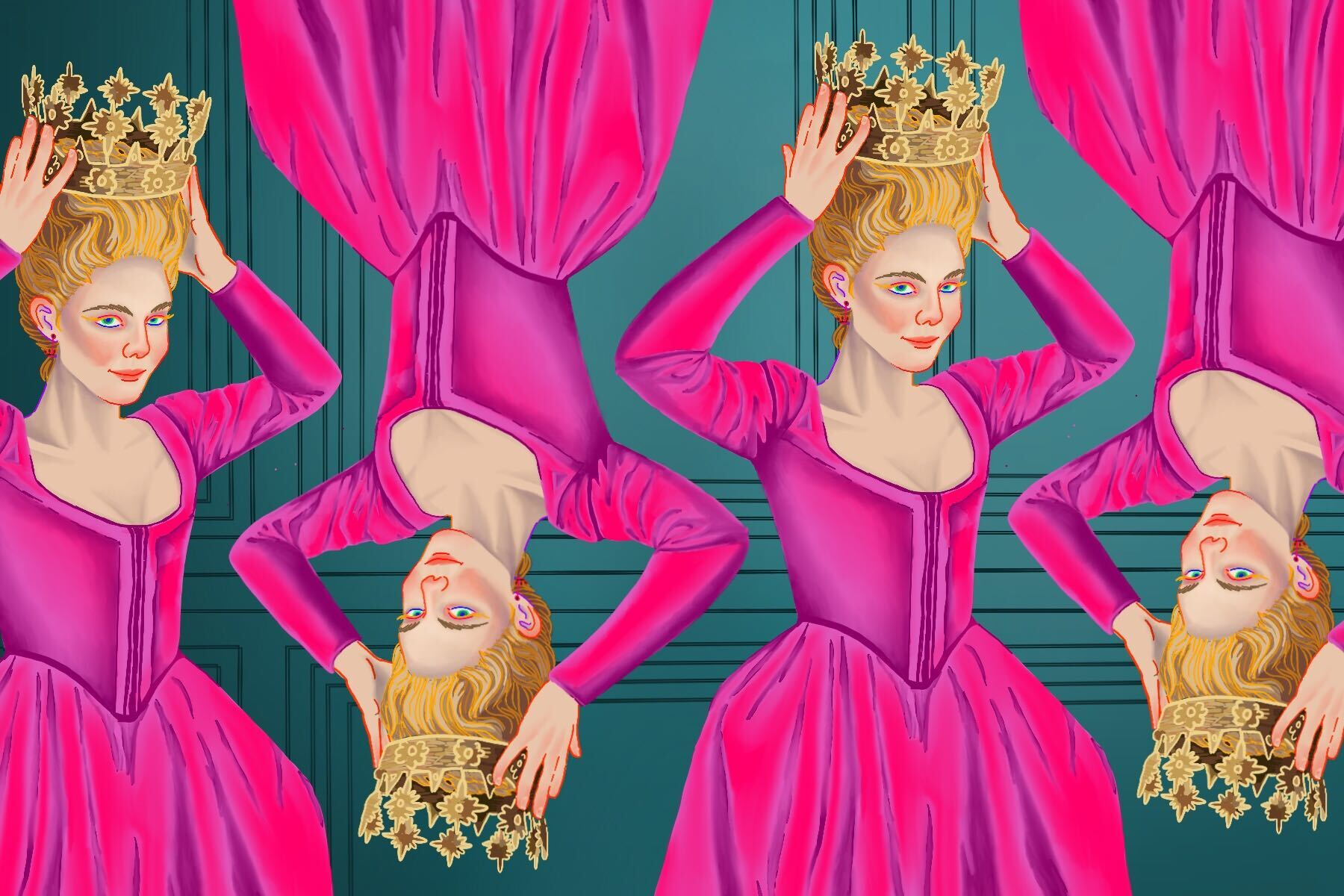 Illustration by Baz Pugmire of Elle Fanning in 'The Great'