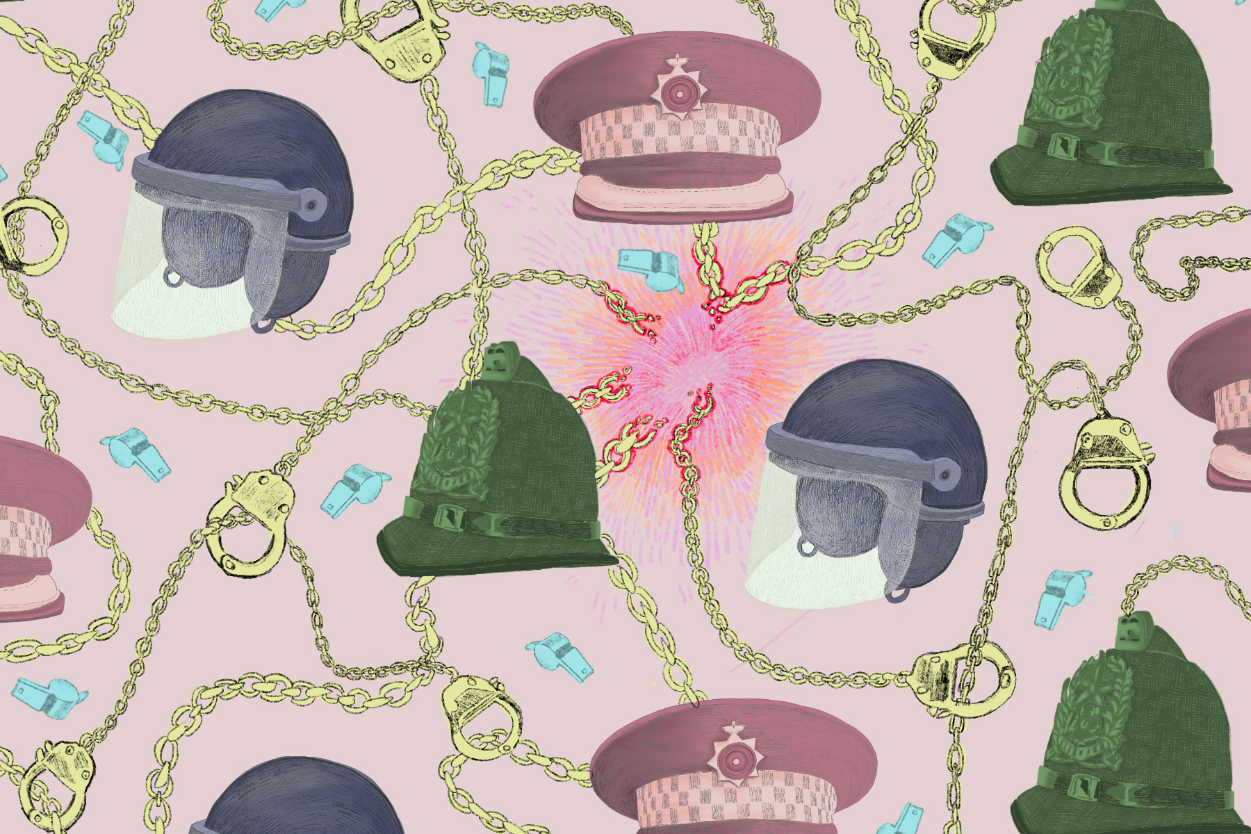 In article about on-campus policing, an illustration by Baz Pugmire of different police hats and helmets