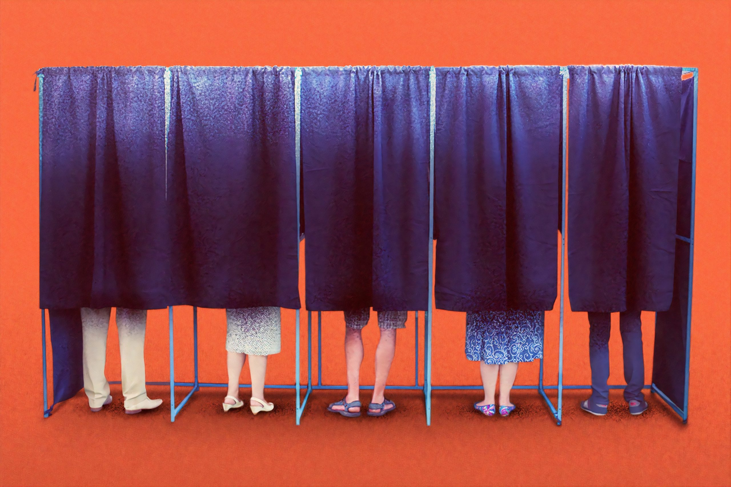 People behind voting booth curtains.