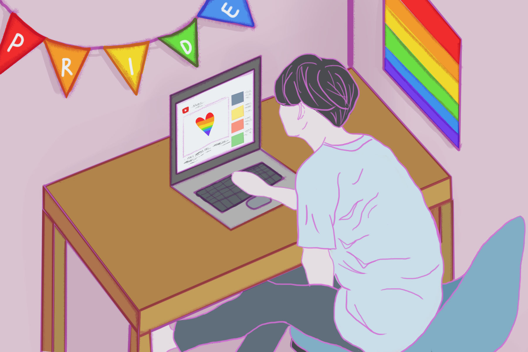 In an article about Pride Month, someone in front of the computer in a room with a rainbow flag