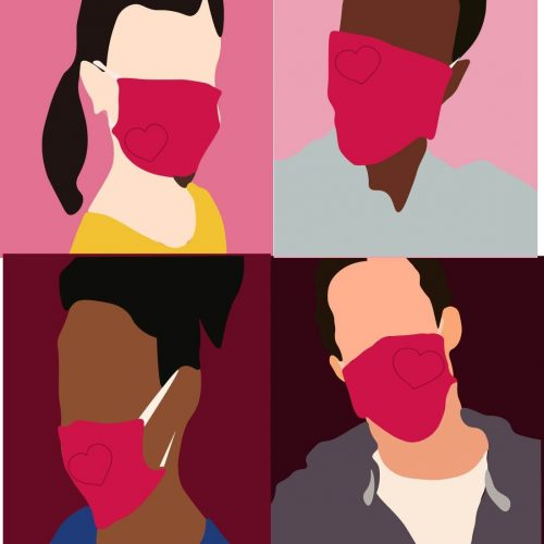 Illustration by Ellen Budell of four people wearing face masks