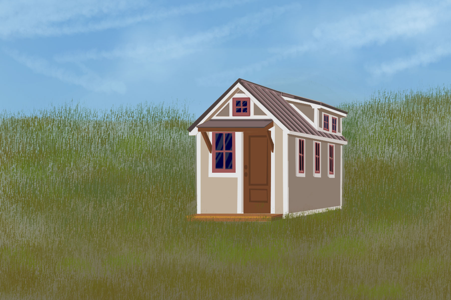 Illustration by Diana Egan, University of Kentucky of a tiny home in a field, reflecting the tiny lifestyle