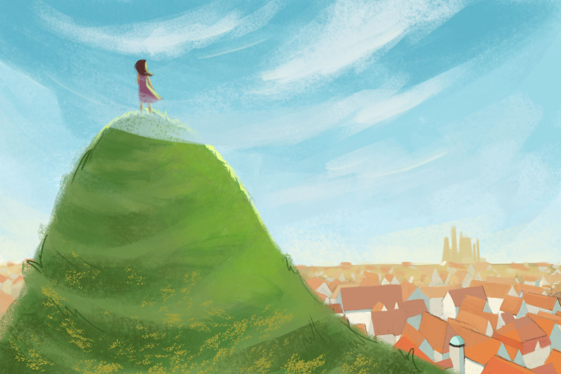 Illustration by Veronica Chen of a person on a hill during a walk