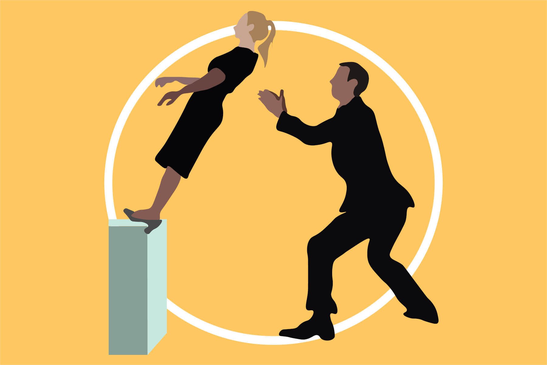 Illustration by Ellen Budell of two individuals participating in a Trust Exercise