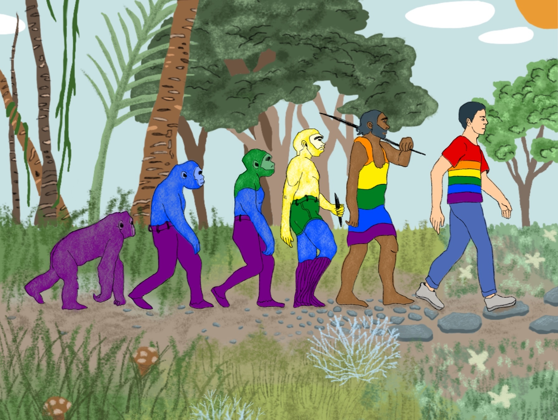 'Visible: Out on Television' illustrated by the evolution of humans from apes to a member of the LGBTQ community