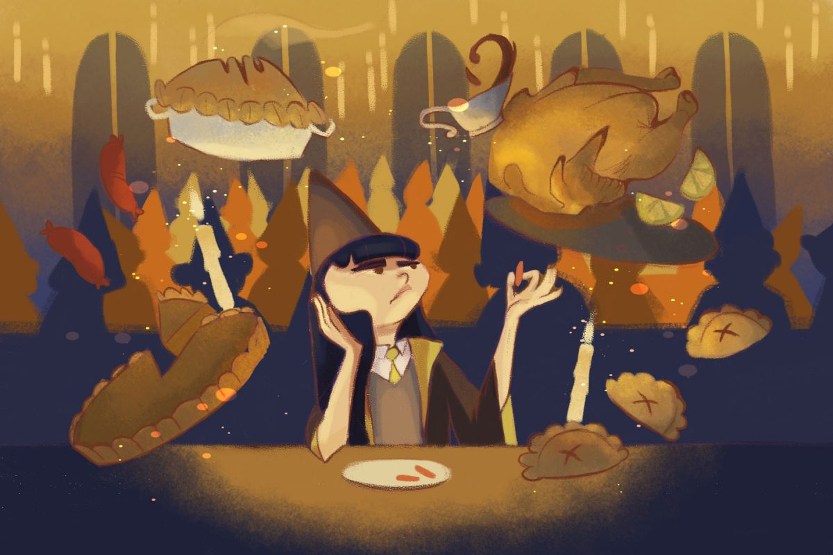 Illustration by Veronica Chen, featured in an article about Harry Potter and veganism.