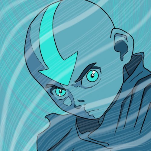Illustration by Drew Parrott of Aang from Avatar: The Last Airbender