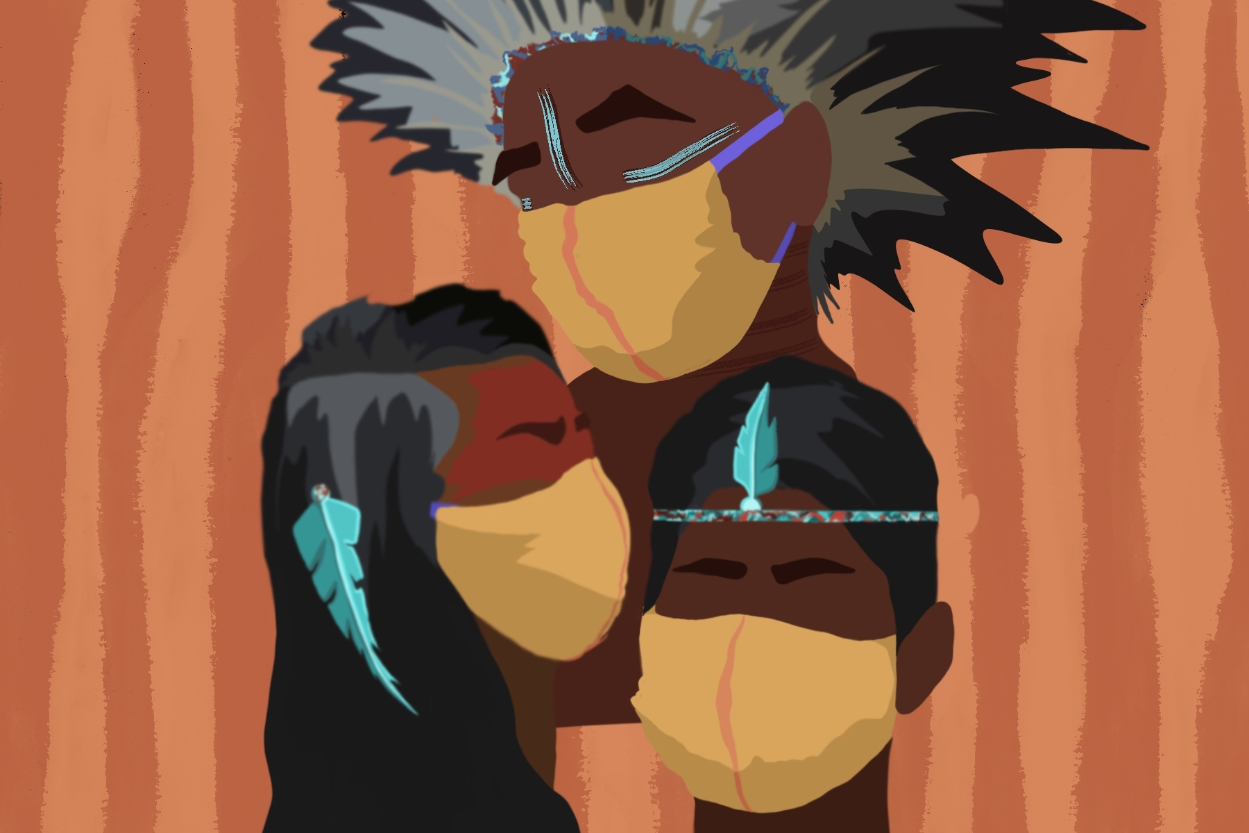 An illustration of three Indigenous people wearing medical masks and traditional headgear