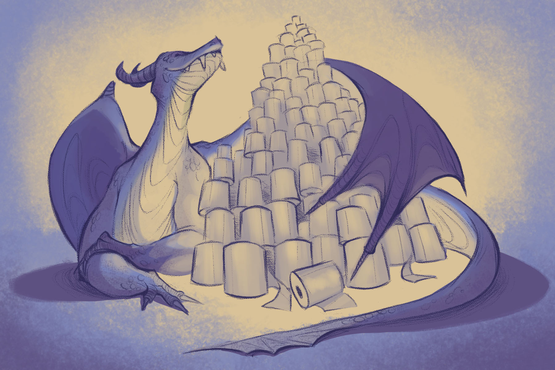 An illustration (by Veronica Chen, Yale University) of a dragon hoarding toilet paper