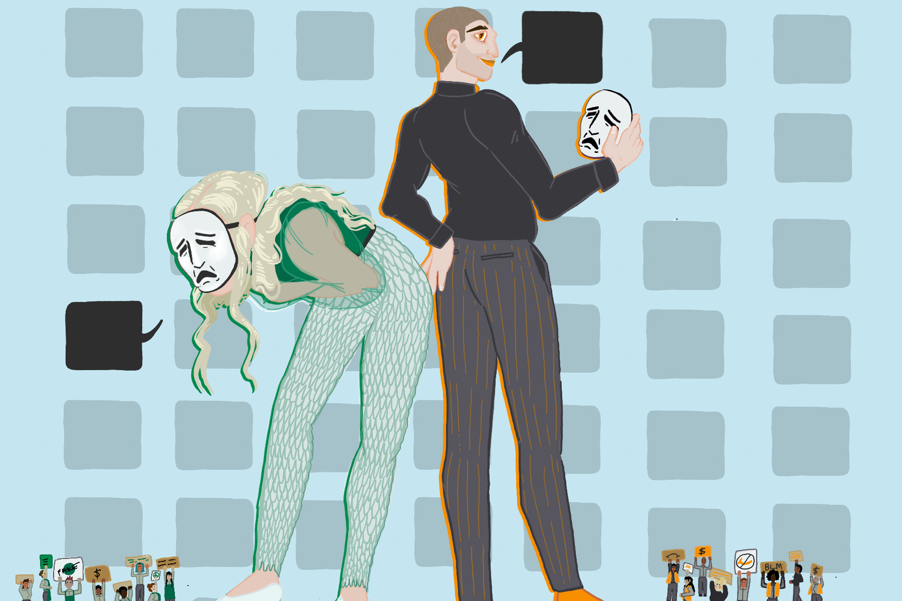 In an article about performative activism, an illustration of a man and a woman with masks and blacked-out speech bubbles