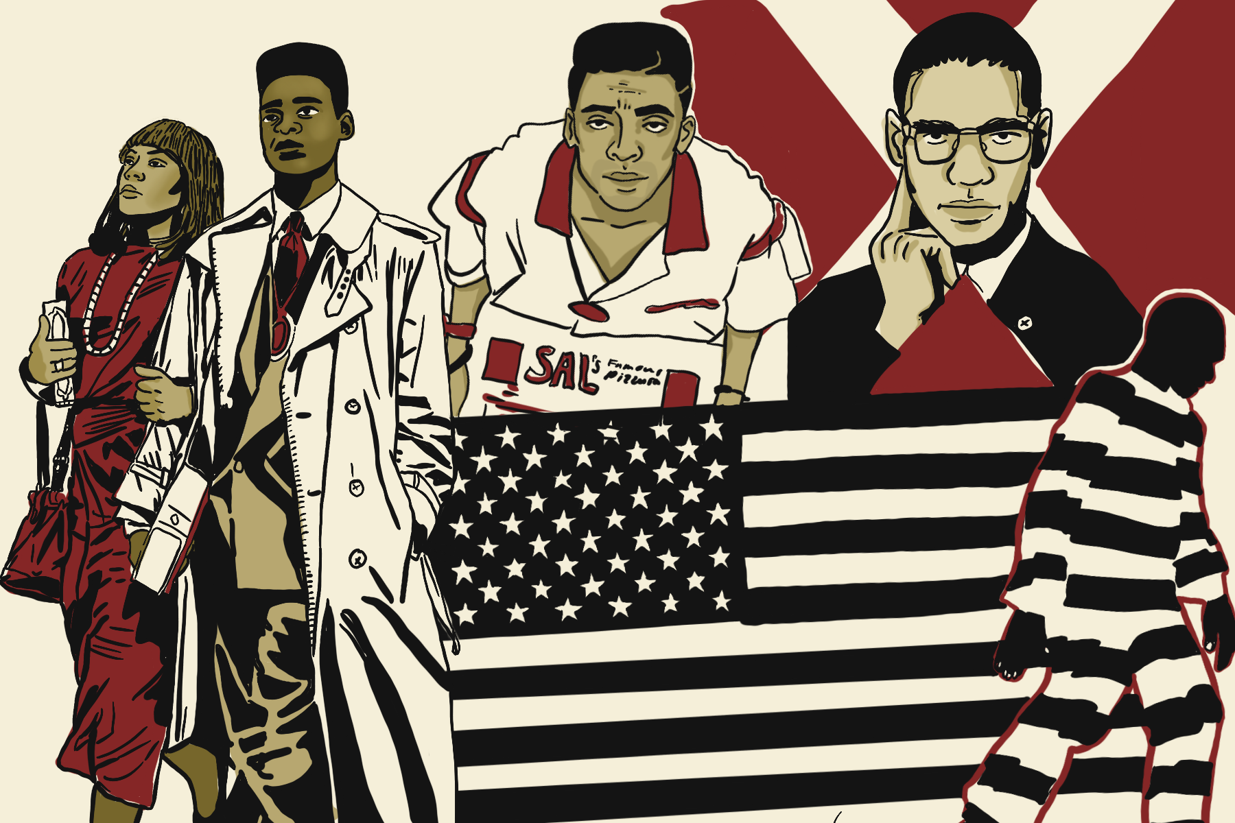 In a list of films addressing systemic racism, an illustration of famous Black historical figures behind an American flag and a man in a prison jumpsuit