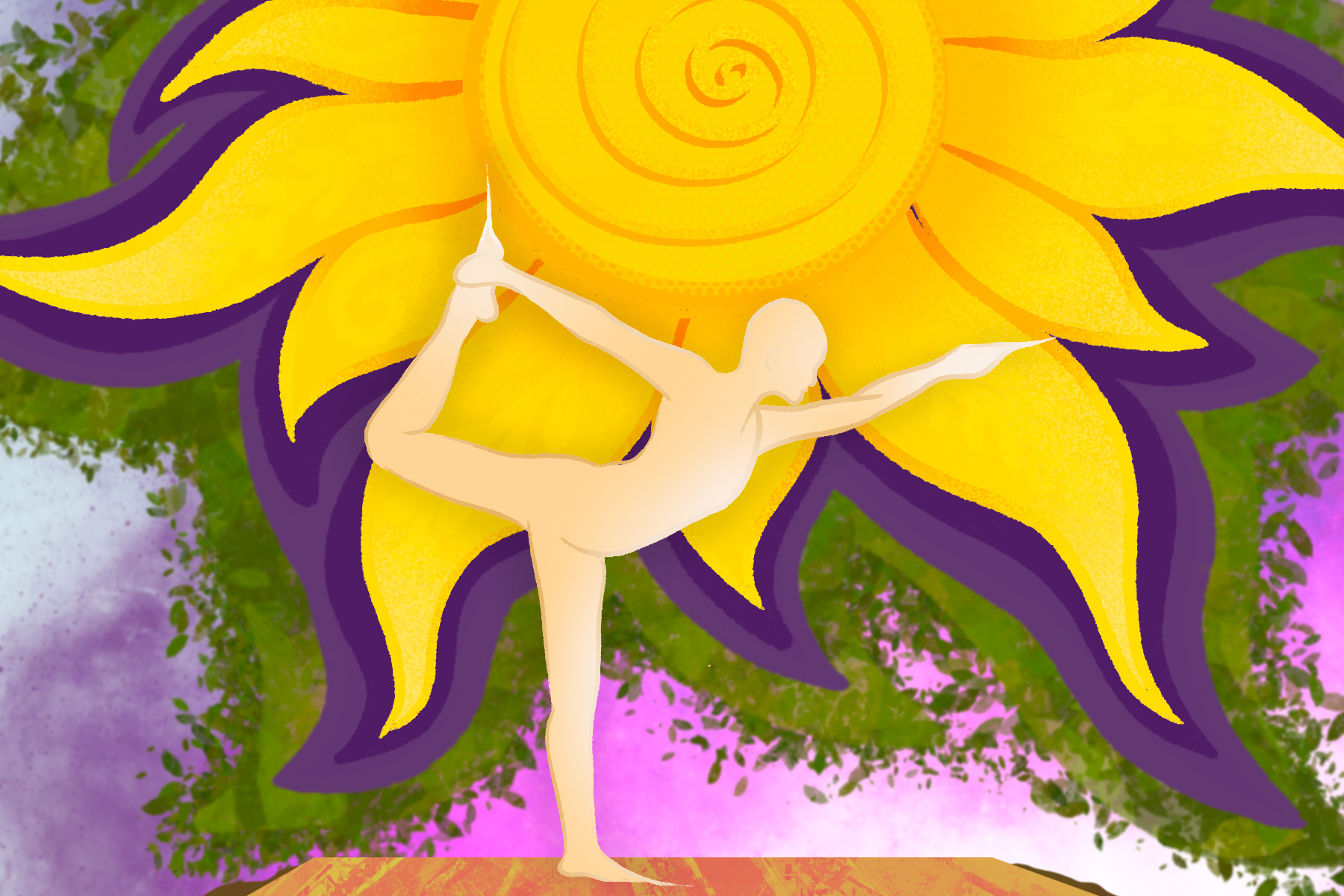 Illustration by Sezi Kaya of an individual doing yoga in front of a sunflower