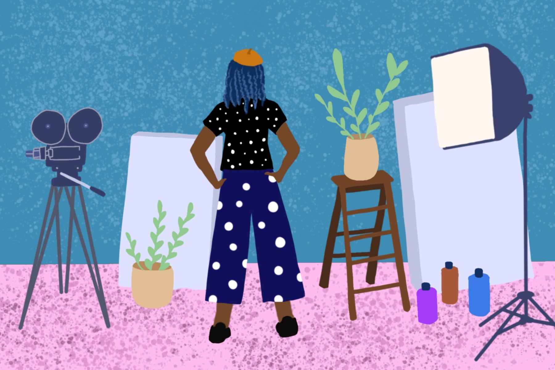 Illustration of someone in their art studio.