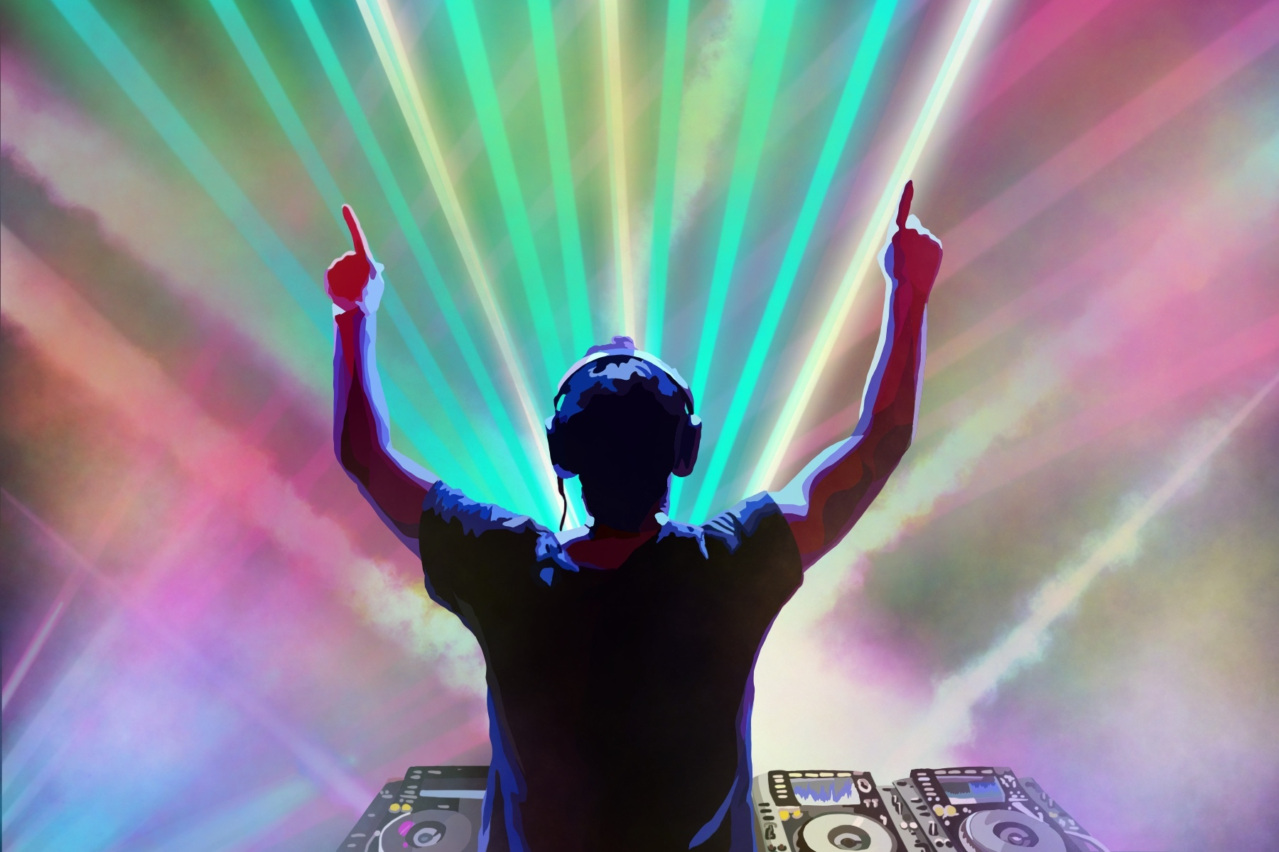 DJ performing in front of laser lights at an EDM show.