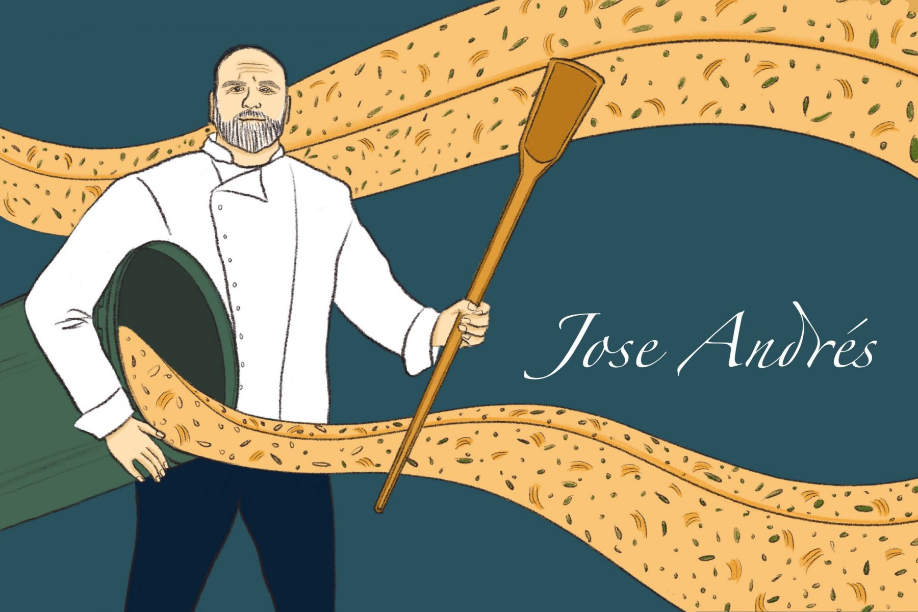 An illustration of Jose Andrés holding a cooking instrument