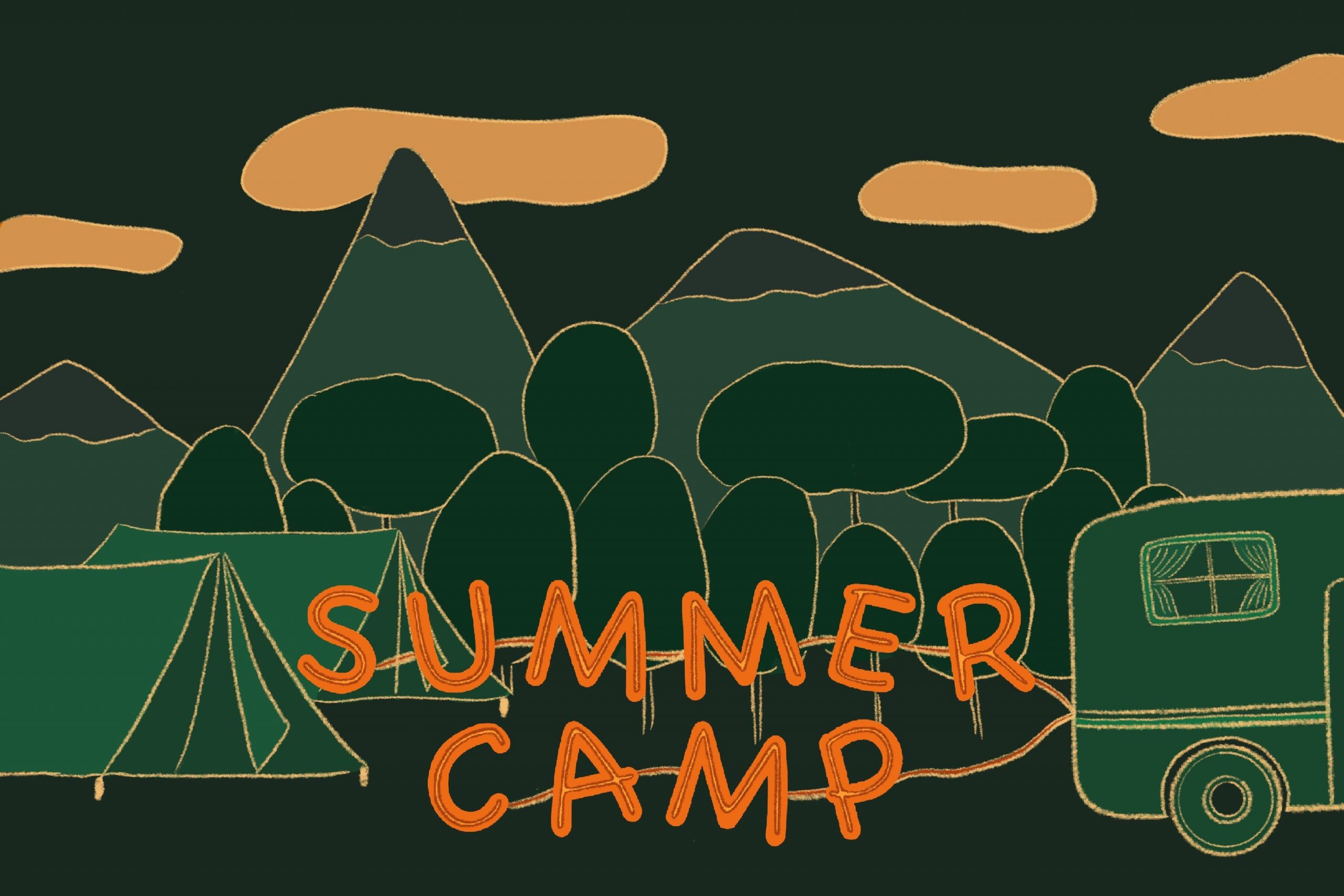 Illustration of green mountains and trees as seen at a sleepaway camp, with summer camp in orange text