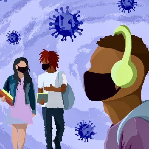 Illustration by Shelly Freund of three students with large COVID-19 viruses floating around the area