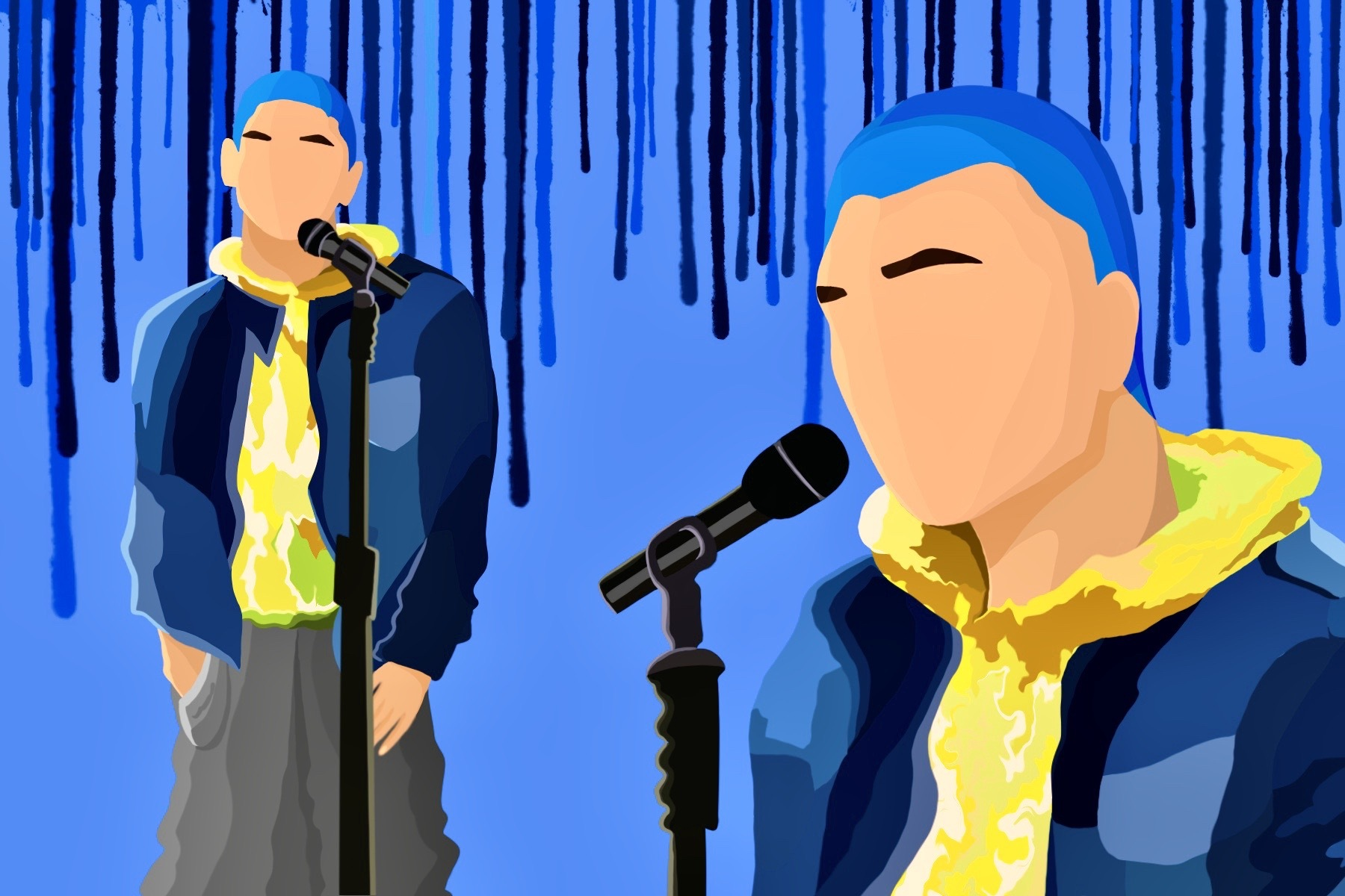 Lauv sings while using the color blue and yellow to represent the emotions of his performance.