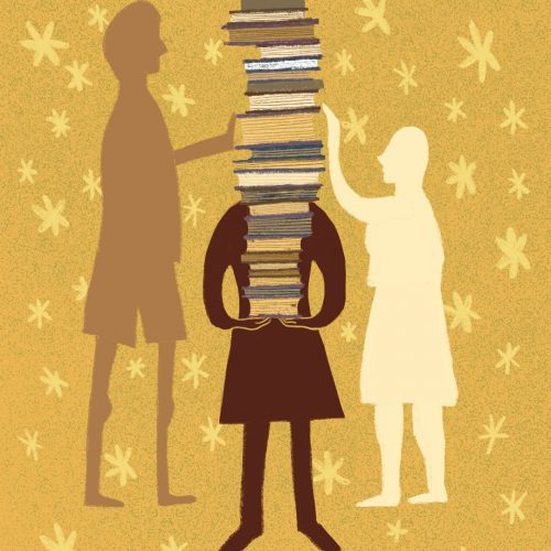 Illustration by Amy Young of a person with a large stack of books