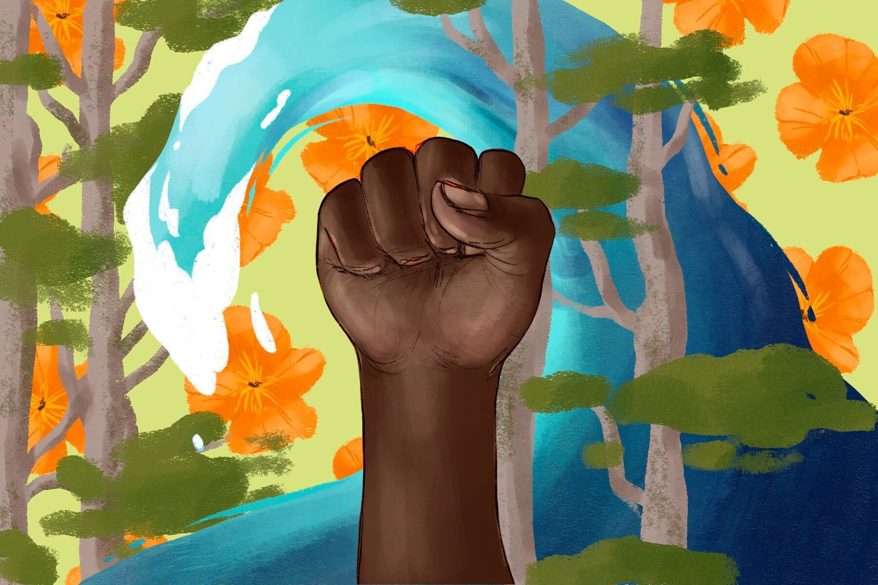 In an article about anti-racism and environmentalism, a raised fist