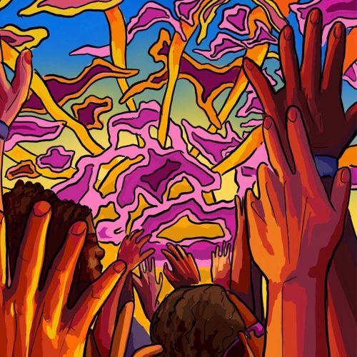 Illustration by Sydney Sabbota of hands in the sky against a sky with psychedelic sky
