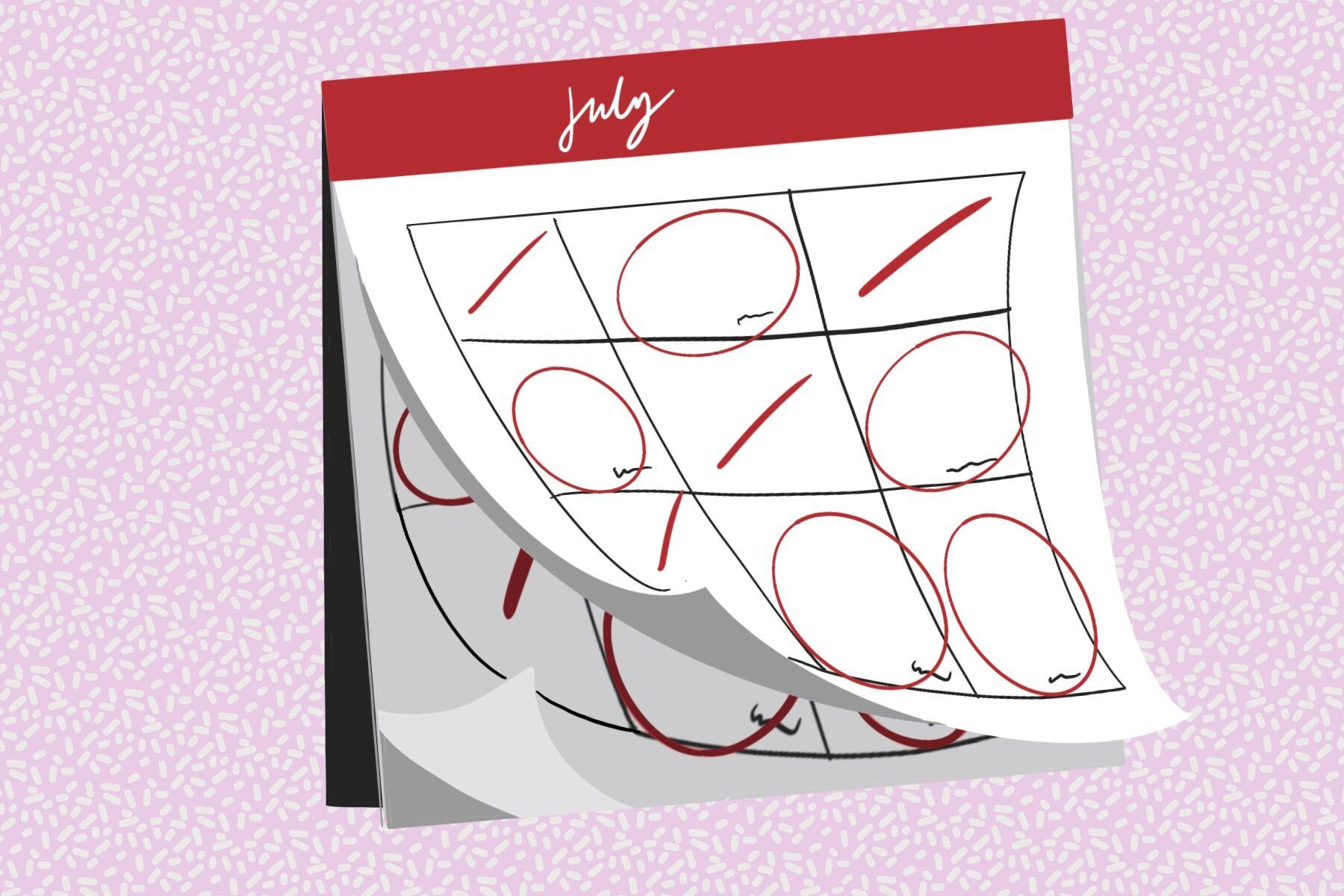 In an article about National Days, an illustration by Ash Ramirez of a calendar on the month of July