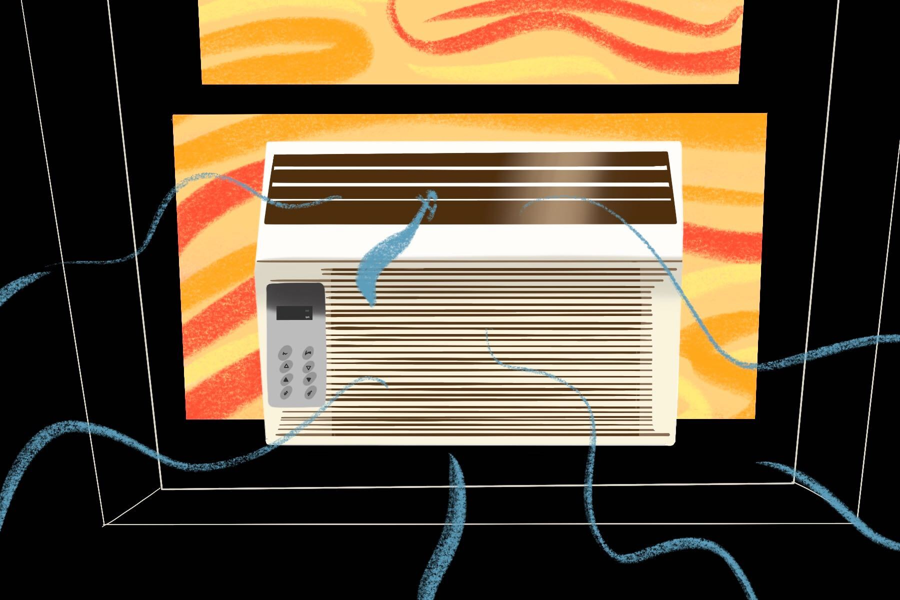Illustration by Ash Ramirez, Humboldt State University of an air conditioning unit