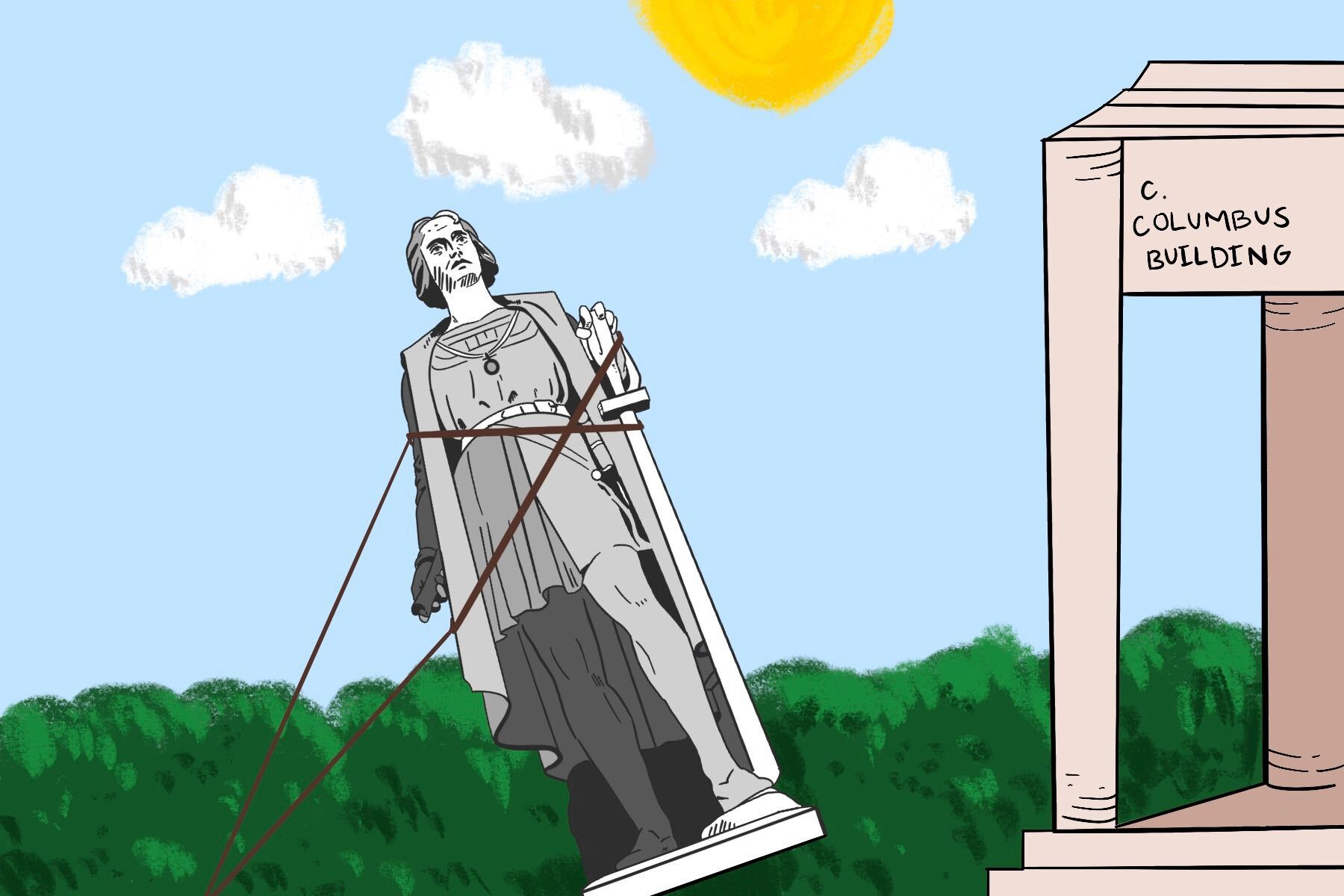 In an article about removing racist statues, an illustration by Ash Ramirez of a statue removal