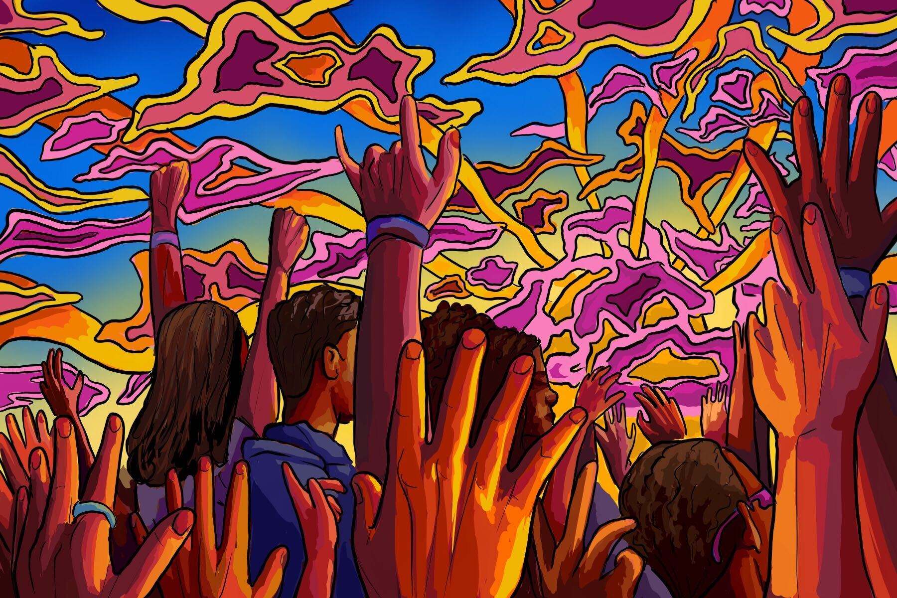 Illustration of people experiencing psychedelic drugs