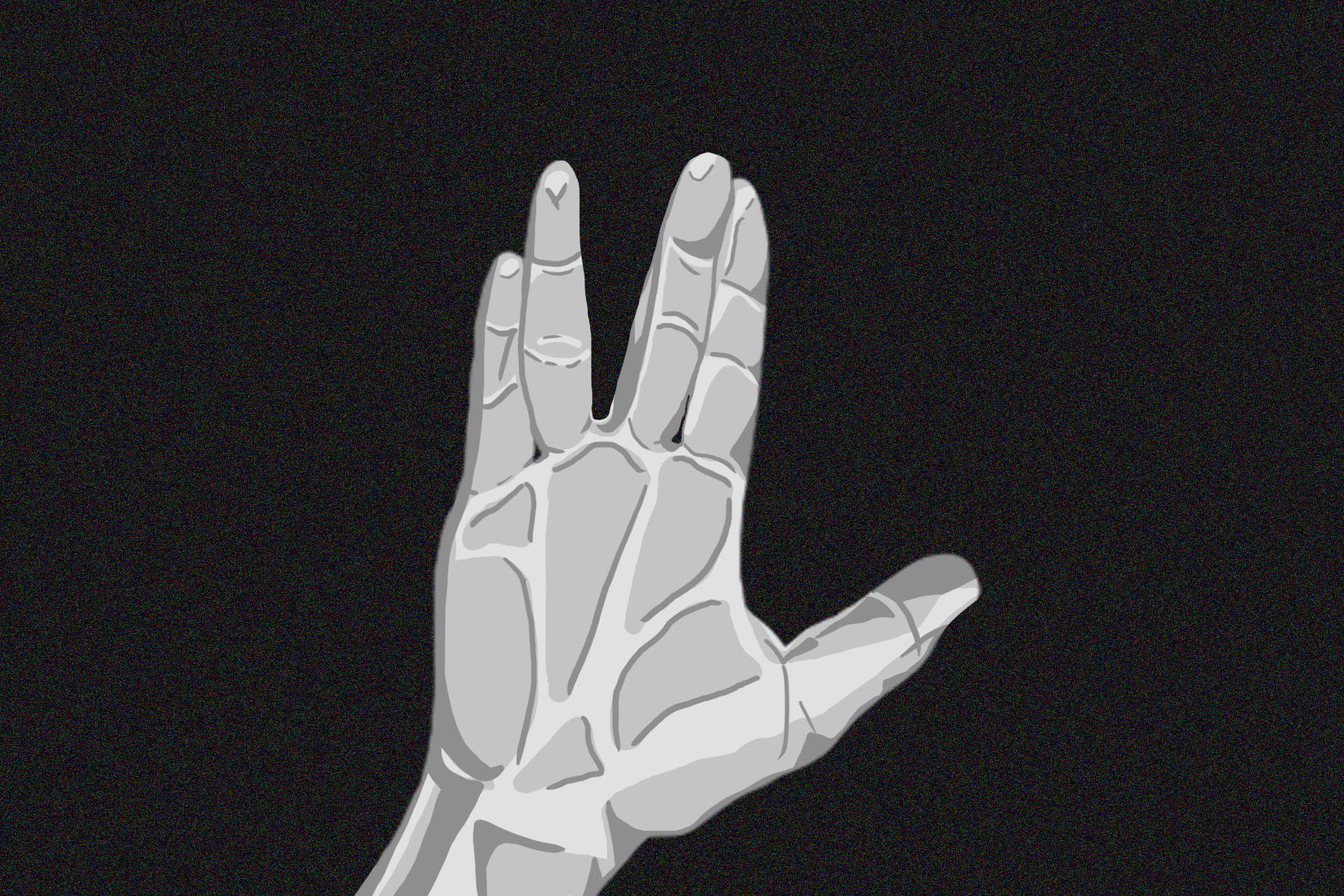 "A hand signaling the ""live long and prosper"" sign from Star Trek"