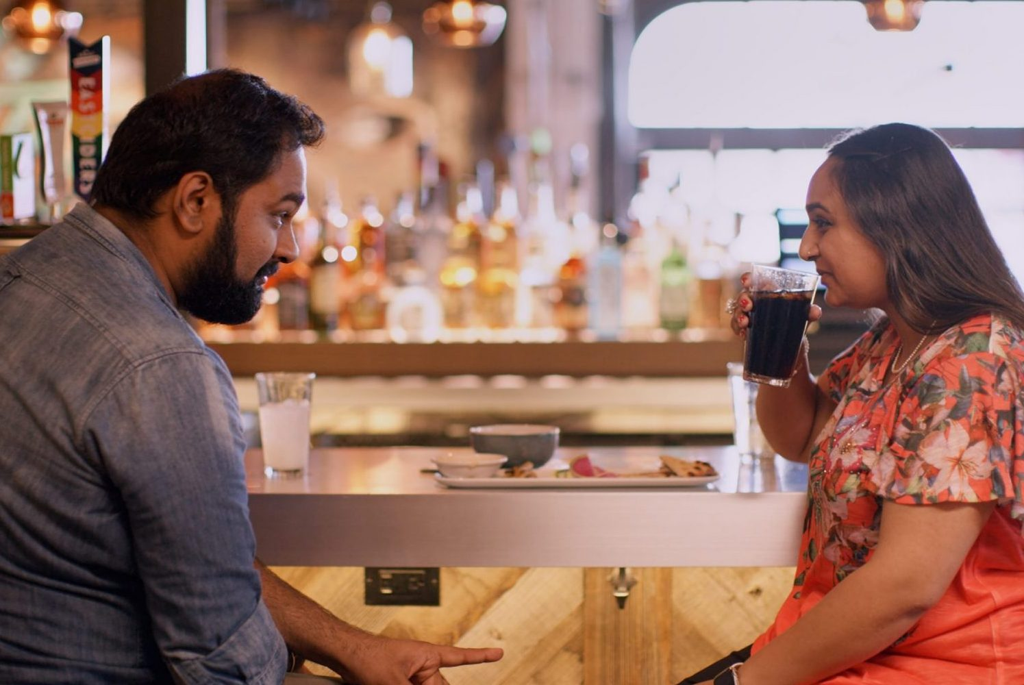 A screen capture of Indian Matchmaking, depicting two individuals on a date